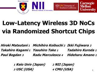 Low-Latency  Wireless 3D  NoCs via  Randomized Shortcut Chips
