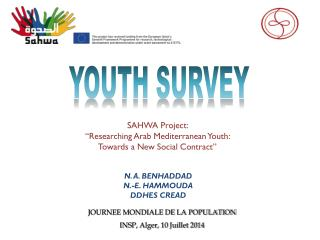 "SAHWA Project:  ""Researching Arab Mediterranean Youth:  Towards a New Social Contract"""