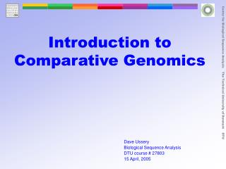Introduction to Comparative Genomics