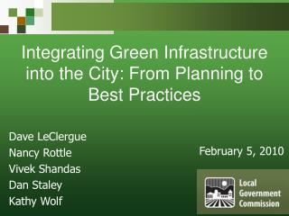 Integrating Green Infrastructure into the City: From Planning to Best Practices