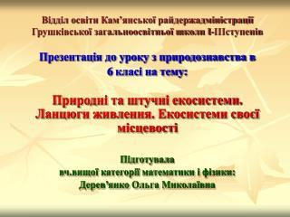 Відділ освіти Кам'янської райдержадміністрації Грушківської загальноосвітньої школи І-ІІІступенів