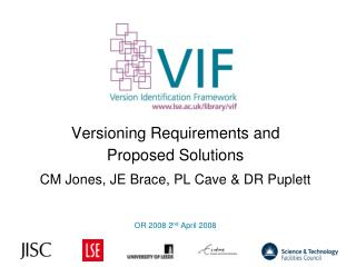 Versioning Requirements and  Proposed Solutions CM Jones, JE Brace, PL Cave & DR Puplett