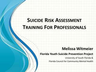 Suicide Risk Assessment Training For Professionals