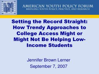 Jennifer Brown Lerner September 7, 2007