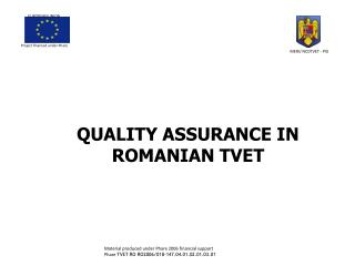 QUALITY ASSURANCE IN ROMANIAN TVET