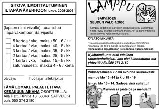 SARVIJOEN  SEUDUN VALO 4/2005