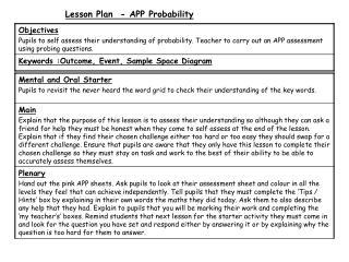Lesson Plan  - APP Probability
