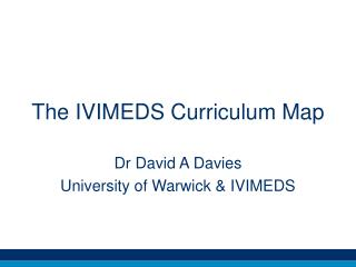 The IVIMEDS Curriculum Map
