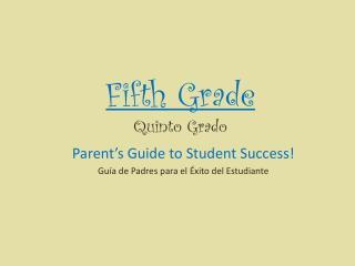 Fifth Grade Quinto Grado