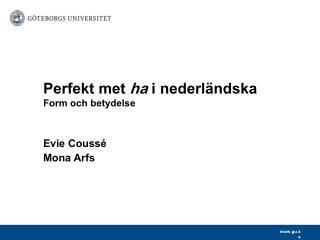Perfekt met  ha  i nederländska Form och betydelse