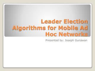 Leader Election Algorithms for Mobile Ad Hoc Networks