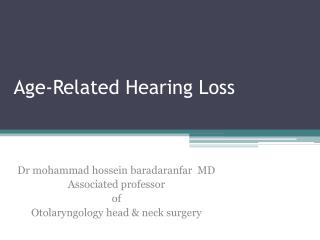 Age-Related Hearing Loss