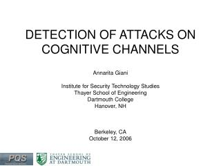 DETECTION OF ATTACKS ON COGNITIVE CHANNELS