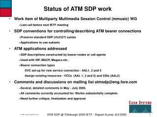 Status of ATM SDP work