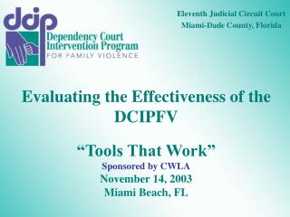 "Evaluating the Effectiveness of the DCIPFV ""Tools That Work"" Sponsored by CWLA November 14, 2003"