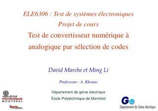 David Marche et Ming Li  Professeur : A. Khouas Département de génie électrique