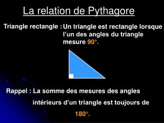 La relation de Pythagore