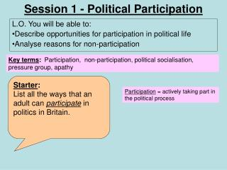 Session 1 - Political Participation