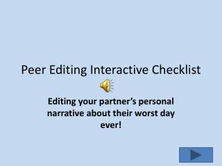Peer Editing Interactive Checklist