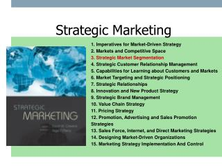 1. Imperatives for Market-Driven Strategy 2. Markets and Competitive Space