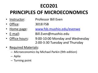ECO201 PRINCIPLES OF MICROECONOMICS