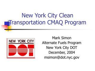New York City Clean Transportation CMAQ Program