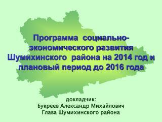 докладчик: Букреев Александр Михайлович Глава Шумихинского района