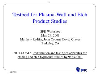 Testbed for Plasma-Wall and Etch Product Studies