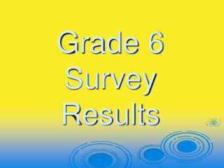 Grade 6 Survey Results