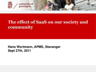 The effect of SaaS on our society and community