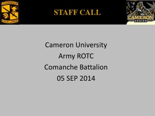 Cameron University Army ROTC Comanche Battalion 05 SEP 2014