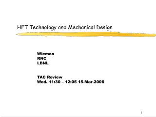 HFT Technology and Mechanical Design