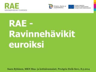 RAE - Ravinnehävikit euroiksi
