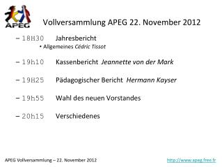 Vollversammlung APEG 22. November 2012