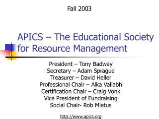 APICS � The Educational Society for Resource Management