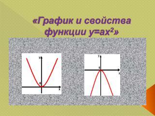 «График и свойства функции  y = ax 2 »