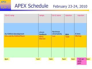 APEX Schedule    February 23-24, 2010
