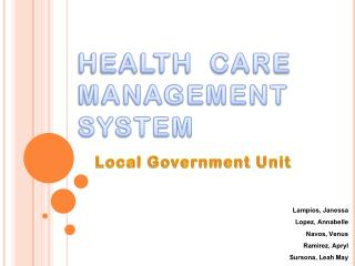 HEALTH  CARE MANAGEMENT SYSTEM