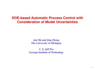 DOE-based Automatic Process Control  with Consideration of Model Uncertainties