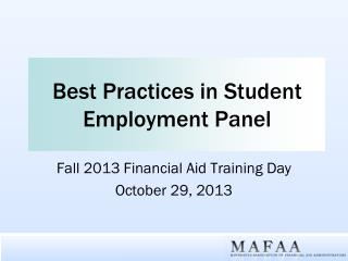 Best Practices in Student Employment Panel