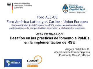 MESA  DE TRABAJO V: Desaf�os en las pr�cticas de fomento a PyMEs en la implementaci�n de RSE