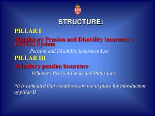 STRUCTURE : PILLAR I Mandatory Pension and Disability insurance  –  PAYGO System