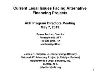 Susan Tachau, Director Pennsylvania AFP Philadelphia, PA stachau@patf