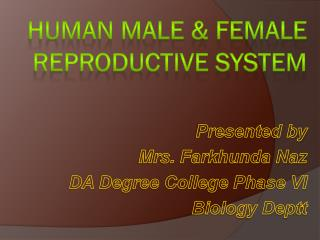 Human Male & Female Reproductive System
