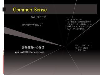 Common Sense  No.9 2010. 12 .20