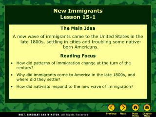 New Immigrants Lesson 15-1