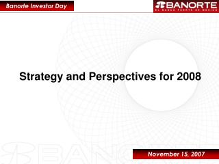 Strategy and Perspectives for 2008