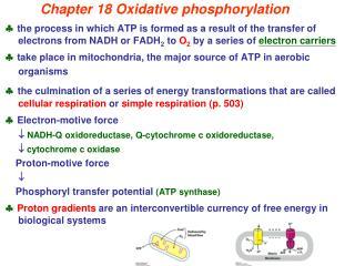 Chapter 18 Oxidative phosphorylation