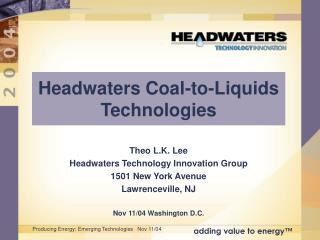 Headwaters Coal-to-Liquids Technologies