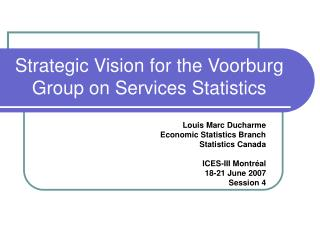 Strategic Vision for the Voorburg Group on Services Statistics